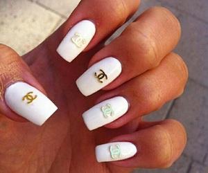 nails, chanel nails, and white nails image
