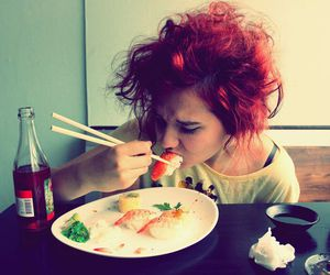 colorful hair, sushi, and coloured hair image
