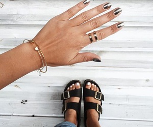 birkenstock, fashion, and nails image