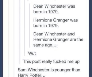 dean, dean winchester, and harry potter image