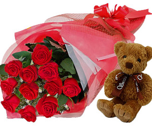 fresh cut flowers, flowers to deliver, and teddy bear delivery image