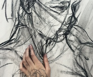 art, charcoal, and hands image