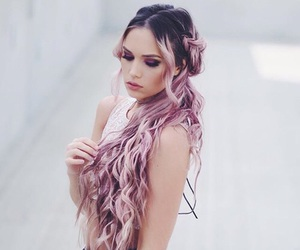 beauty, hairstyles, and pink hair image