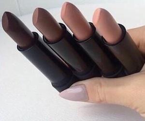makeup, lipstick, and Nude image