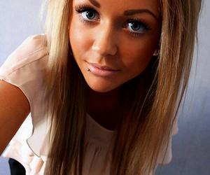 blue eyes, long hair, and selfie image