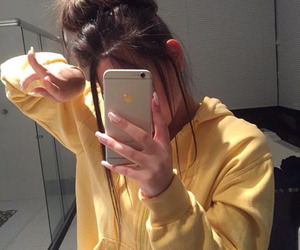 girl, tumblr, and yellow image