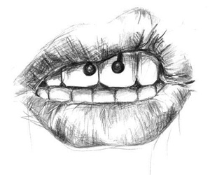 piercing, lips, and drawing image