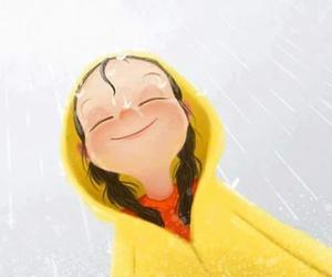 girl, rain, and illustration image