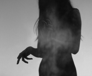girl, dark, and smoke image