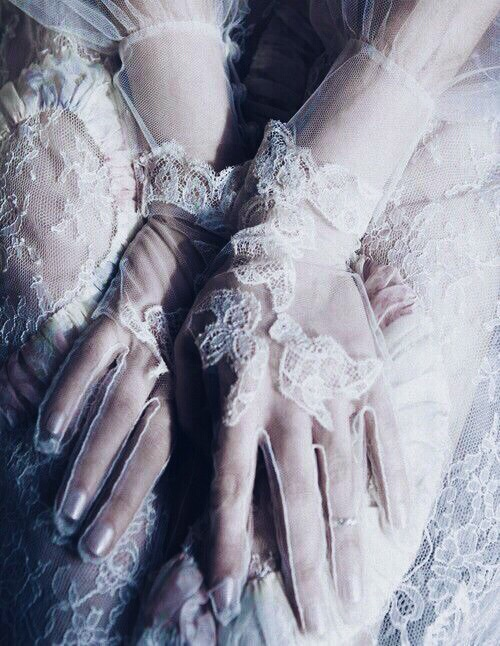 white, gloves, and lace image