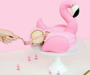 cake, flamingo, and pink image