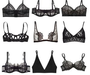 bra, black, and style image