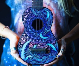 music, art, and blue image