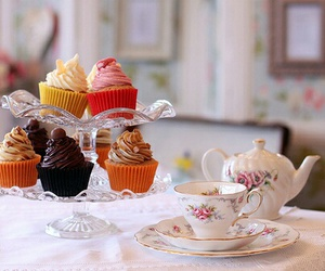 cupcake, food, and tea image