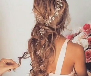 hair, hairstyle, and bride image