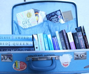 books, suitcase, and tfios image