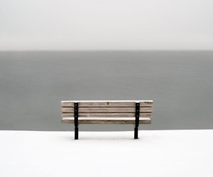bench, simple, and snow image