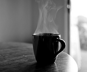 coffee, black and white, and Hot image