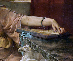 books in art, reading in art, and sir lawrence alma-tadema image