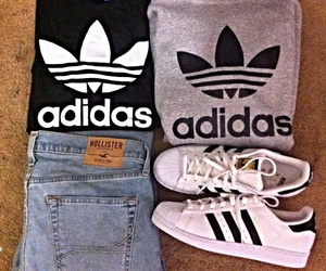 adidas, hollister co, and out fit image