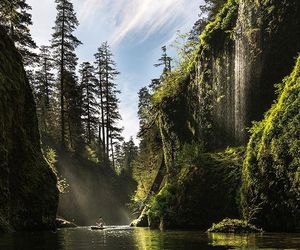 nature, landscape, and waterfalls image