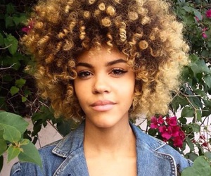 blonde hair, curly hair, and flawless image