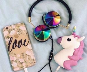 unicorn, iphone, and headphones image