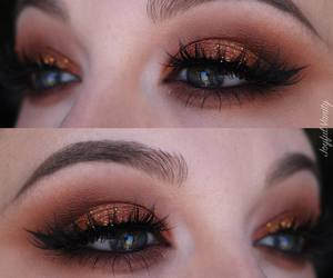copper, glitter, and makeup image