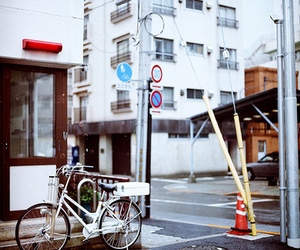 bicycle, white, and city image