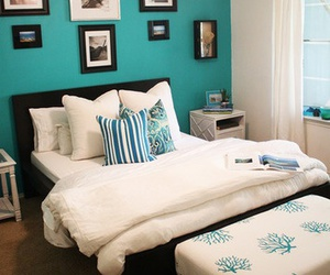 turquoise, white, and bedroom design image