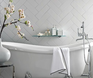 bathroom, bath, and flowers image