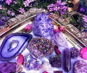 crystal, purple, and flowers image
