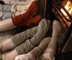 socks, winter, and fire image