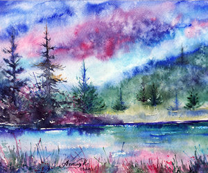 art, scenery, and watercolor image