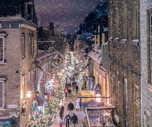 snow, shops, and street image