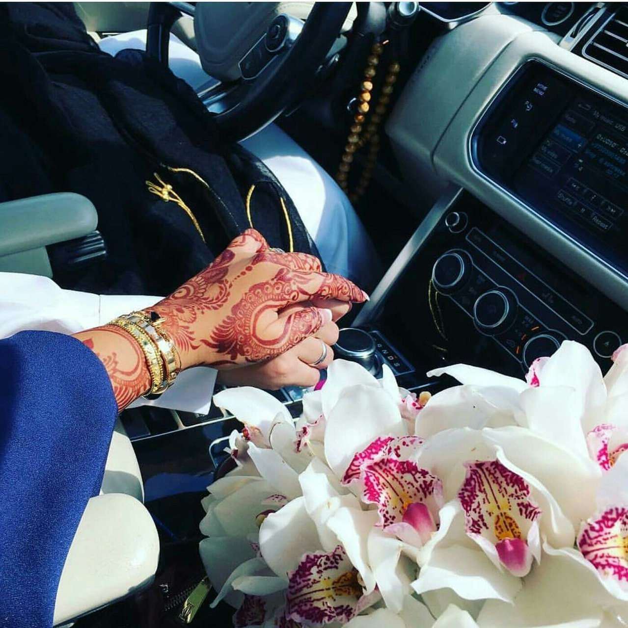 car, hands, and couple image