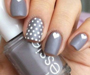 nails, grey, and heart image