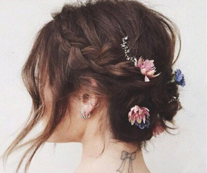 hair, flowers, and lucy hale image