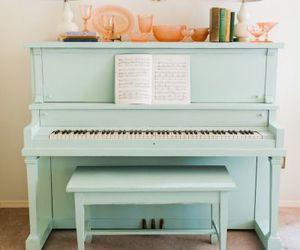 piano, music, and mint image