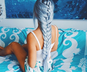 blue hair, style, and braid image