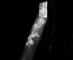 black and white, light, and window image