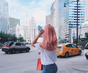 city, hair, and pink image