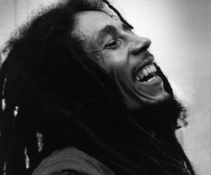 bob marley, black and white, and dreads image
