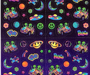 alien, lisa frank, and space image