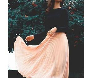 peach, skirt, and dark lipstick image