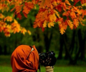 hijab and autumn image