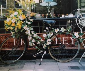 flowers, vintage, and bike image