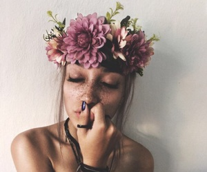 girl, freckles, and flower crown image