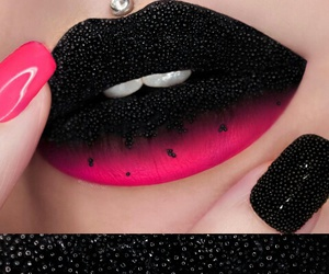 lips, black, and pink image