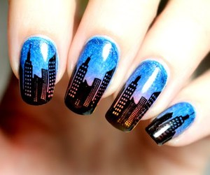 nail art, newyork, and skyscrapers image